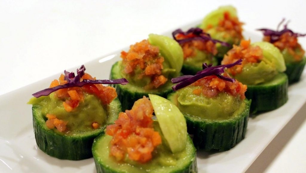 Cucucmber with Guacmole and Fermented Vegetables