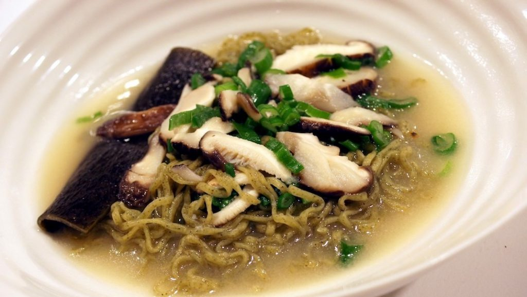 Miso Broth with Green Noodles