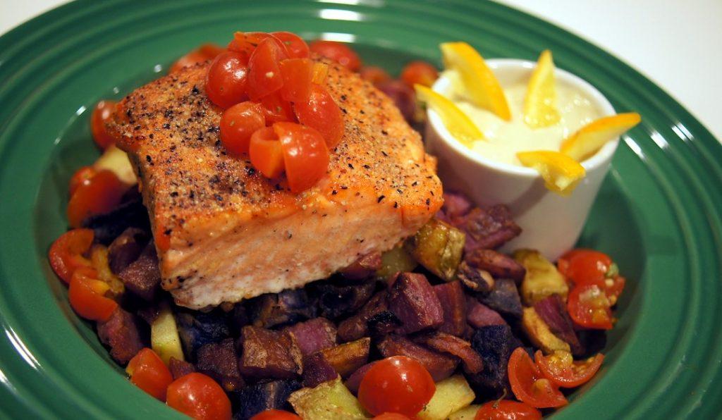 Purple Corn Crusted Salmon Trout