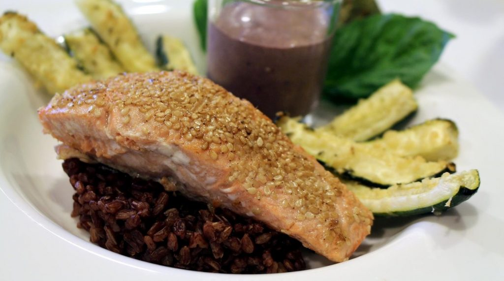 Sesame Salmon with Red Rice and Zucchini and Whole Vine MErlot jp 5-5-15