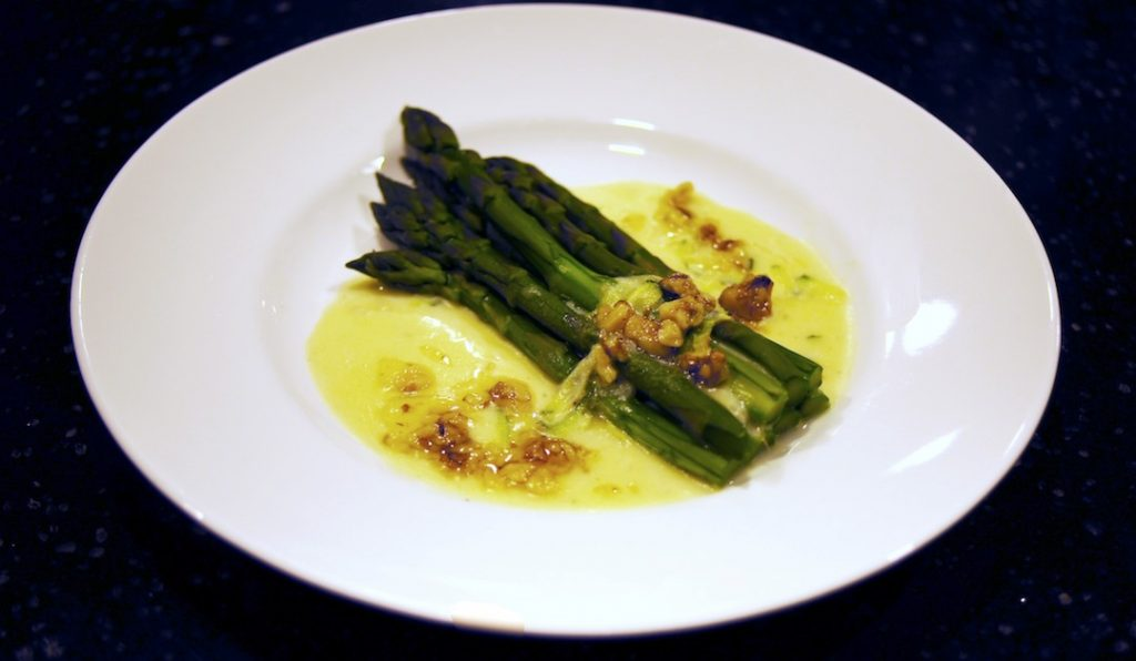Steamed Asparagus with Gruyere Sauce