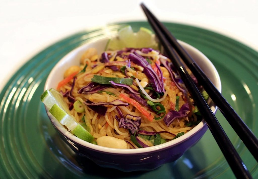 colc angel hair nnoodles with Peanut Sauce